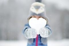 滑稽的小女孩获得乐趣在冬天公园 免版税库存图片