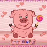 滑稽的小的猪 上色模式可能的变形多种向量 库存例证