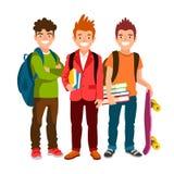 滑稽的小组有背包和课本的男小学生 皇族释放例证