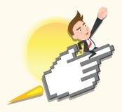 滑稽的平的字符成功企业概念 免版税库存图片