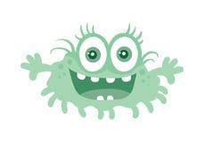 滑稽的微笑的毒菌 蓝色漫画人物 向量 免版税库存照片
