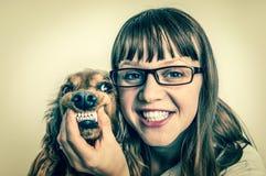 滑稽的微笑的狗和兽医兽医诊所的 免版税图库摄影