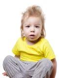 滑稽的惊奇的婴孩被隔绝 免版税图库摄影