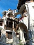 滑稽的房子建筑学en墨西哥石头房子 库存照片
