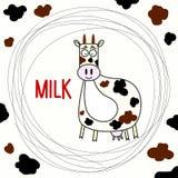 滑稽的手拉的乱画母牛 免版税库存照片