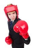 滑稽的拳击手商人 图库摄影