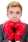 滑稽的拳击手商人 库存照片