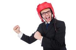 滑稽的拳击手商人 免版税库存照片