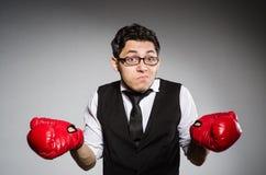 滑稽的拳击手商人 库存图片