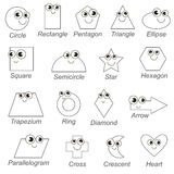 滑稽的无色的几何形状和形式设置了,将被上色的大页,孩子的简单的教育比赛 向量例证