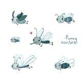 滑稽的昆虫动画片集合 图库摄影