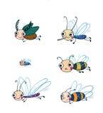 滑稽的昆虫动画片集合 库存图片