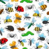 滑稽的昆虫漫画人物无缝的样式 图库摄影