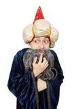 滑稽的明智的巫术师被隔绝 库存图片
