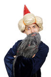 滑稽的明智的巫术师被隔绝 库存照片