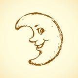 滑稽的月亮 得出花卉草向量的背景 库存图片