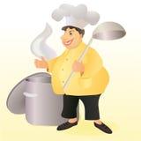 滑稽的有一把大匙子和炖煮的食物平底锅的烈性黑啤酒微笑的厨师 图库摄影