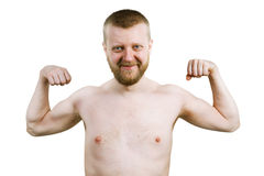 滑稽的有胡子的人显示他的二头肌 免版税库存照片