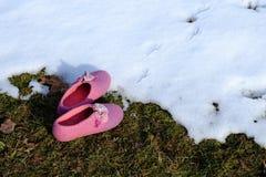 滑稽的桃红色拖鞋 库存照片