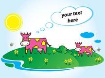 滑稽的桃红色母牛传染媒介 免版税库存照片
