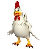 滑稽的母鸡漫画人物 免版税库存照片