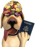 滑稽的游客旅行护照狗 免版税库存图片