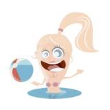 滑稽的游泳女孩 免版税库存图片
