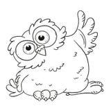 滑稽的漫画人物猫头鹰 与大眼睛的惊奇的猫头鹰 传染媒介彩图 在白色背景的等高 免版税库存照片