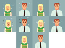 滑稽的漫画人物 办公室工作者安静哀伤的恼怒的愉快的迷茫的人妇女传染媒介例证 库存照片