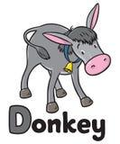 滑稽的灰色驴 字母表d 库存照片