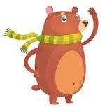 滑稽的熊挥动的动画片 明信片或装饰的传染媒介例证 免版税库存图片