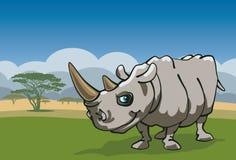 滑稽的犀牛在非洲 图库摄影