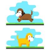 滑稽的狗天空背景概念平的设计传染媒介例证 免版税库存图片