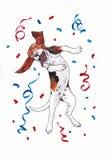 滑稽的狗庆祝 免版税库存照片