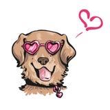 滑稽的狗手拉的传染媒介画象在心形的桃红色的 免版税库存照片