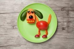 滑稽的狗由菜做成在板材和木背景 免版税图库摄影