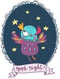 滑稽的猫头鹰例证一晚上好 库存图片