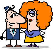 滑稽的男人和妇女夫妇动画片 图库摄影
