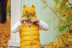 滑稽的秋天画象愉快小孩女孩走室外 图库摄影