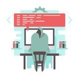 滑稽的程序员字符写着代码 免版税库存图片