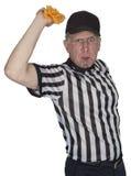 滑稽的美国橄榄球联盟橄榄球裁判员或审判员,惩罚旗子,被隔绝 免版税库存照片