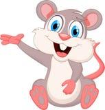 滑稽的老鼠动画片挥动的手 免版税库存照片