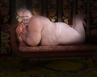 滑稽的肥胖裸体男性例证 免版税库存照片