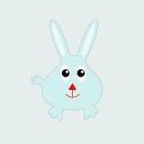 滑稽的蓝色微笑的兔子 免版税库存照片