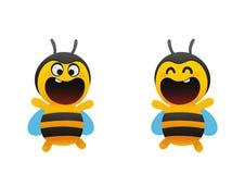 滑稽的蜂广泛地微笑两个类型 图库摄影