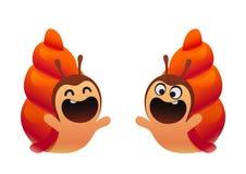 滑稽的蜗牛动画片红色两类型 库存照片
