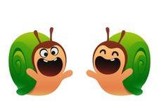 滑稽的蜗牛动画片绿色两类型 库存照片