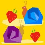 滑稽的蜗牛和草莓 动画片明亮的彩图摘要例证用于设计 库存照片