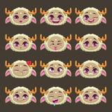 滑稽的被设置的动画片米黄女孩妖怪情感 库存图片