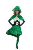 滑稽的跳舞恶鬼女孩,隔绝在白色,概念的爱尔兰 免版税库存图片
